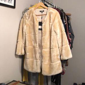 Missguided faux fur cream coat - NWT!